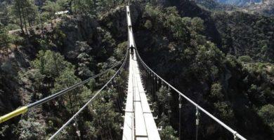 Puente colgante en el Parque de Barrancas del Cobre